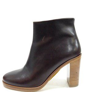 A.P.C. Brown Cordovan Leather Ankle Boots Booties